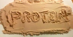 在蛋白质粉末-蛋白质的文本 免版税库存照片