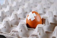 在蛋盒有一个害病的损坏的鸡蛋 库存图片