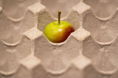 在蛋盒的苹果计算机 免版税库存照片