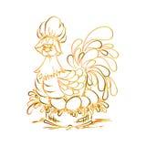 在蛋红色黄色的母鸡 愉快的复活节 免版税图库摄影