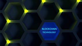 在蜂窝结构blockchain概念的发光的黄色结 免版税图库摄影