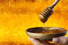 在蜂窝背景的蜂蜜水滴 库存照片