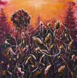 在蜘蛛网-帆布的原始的油画晚上植物的温暖的夏天晚上-现代五颜六色的日落乡下的绘画- 免版税库存图片