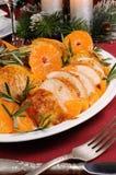 在蜜桔调味汁的被烘烤的鸡 免版税库存图片