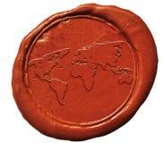 在蜡封印的世界地图标志 库存照片