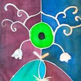 在蜡染布丝绸围巾的抽象花卉样式 免版税库存照片