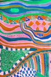 在蜡染布技术绘的丝绸围巾的样式 免版税库存图片