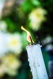 在蜡烛的火 库存图片