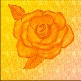 在蜡笔色的背景的手拉的罗斯图画 蜡笔艺术凹道 非常装饰神色的创造性&豪华艺术品 向量例证
