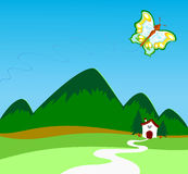 在蝴蝶之上飞行山 向量例证