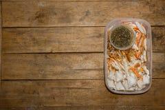 在螃蟹的蟹肉准备好 免版税库存照片