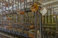 在螺纹机器的短管轴 免版税库存图片