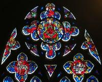 在蠕虫的彩色玻璃-耶稣基督在天堂 库存照片