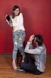 在行动照片的夫妇 免版税图库摄影