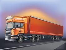 在行动的传染媒介橙色卡车 免版税图库摄影