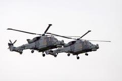在行动的军用直升机 免版税库存照片
