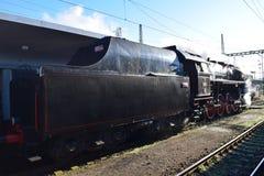 在行动的历史蒸汽机车 免版税库存图片