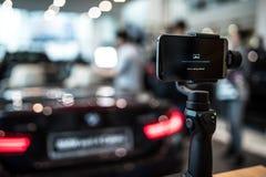 在行动的常平架照相机 免版税库存照片