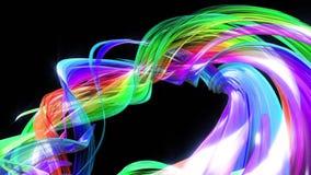 在行动的抽象线作为无缝的创造性的背景 五颜六色的条纹在一种圆形成扭转 使成环的3d 股票录像