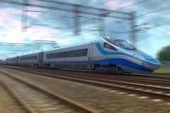 在行动的现代高速火车在铁轨 库存图片