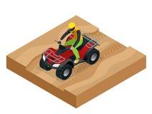 在行动的ATV车手 方形字体自行车ATV等量传染媒介例证 摩托车越野赛自行车象 库存例证