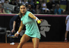在行动的Tenniswoman 库存图片