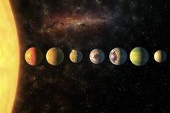 在行太阳系的行星在与拷贝这个图象的空间元素的满天星斗的宇宙由美国航空航天局装备了 库存图片
