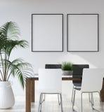 在行家客厅内部,斯堪的纳维亚样式的大模型海报 免版税库存图片