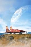 在行星和月亮的太空飞船 库存照片