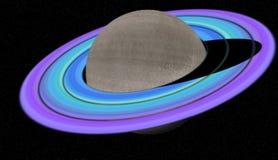 在行星土星附近的紫色和蓝色圆环在黑暗的天空 库存照片