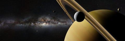 在行星土星,圆环、其他月亮和银河星系横幅前面的土星月亮土卫二 皇族释放例证
