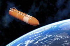 在行星地球上的航天飞机主燃料槽 库存图片