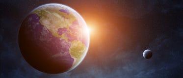 在行星地球的日出在空间 库存照片