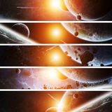 在行星地球的日出在空间 免版税库存图片