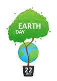 在行星地球的背景的树 免版税图库摄影