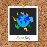 在行星地球附近导航与立即照片卡片的黄柏板和动物 向量例证