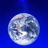 在行星地球附近的全世界全球性通信网络 高速数据和互联网连接 busine的现代技术 向量例证