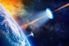 在行星地球附近的飞碟 库存照片