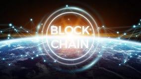 在行星地球3D翻译的Blockchain 免版税库存图片