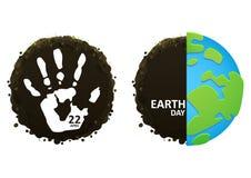 在行星地球eco的Handprint 库存图片