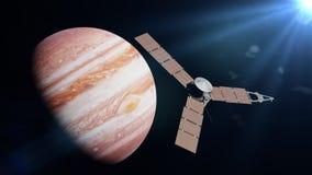 在行星太阳3d例证点燃的木星,这个图象的元素前面的朱诺航天器由美国航空航天局装备 免版税库存图片
