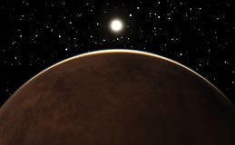 在行星火星的日出 库存照片