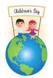 在行星的儿童的天 免版税图库摄影
