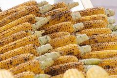在行的烤玉米棒子 免版税库存图片