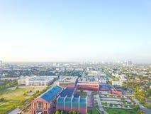在街市休斯敦,得克萨斯西部的鸟瞰图第四病区区 免版税库存图片