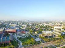 在街市休斯敦,得克萨斯西部的鸟瞰图第四病区区 图库摄影