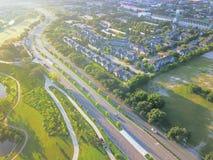 在街市休斯敦,得克萨斯西部的鸟瞰图第四病区区 库存图片