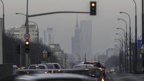 在街市华沙的日落 股票视频