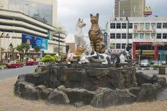 在街市古晋,马来西亚的猫纪念碑 免版税库存图片