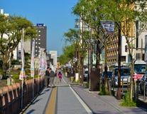 在街市的街道在秋田,日本 免版税库存照片